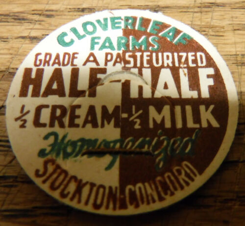 100 Cloverleaf Farms California Dairy Half & Half Milk vintage Bottle Caps NOS