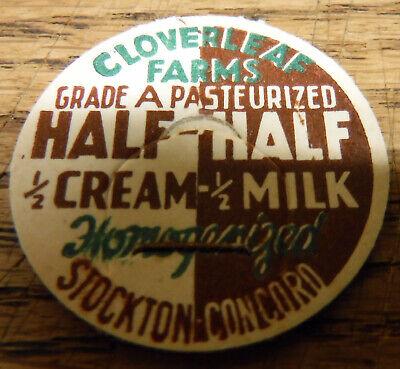 100 Cloverleaf Farms California Dairy Half & Half Milk vintage Bottle Caps NOS