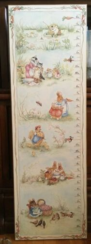 Vintage Beatrix Potter wooden wall-hanging growth chart - nursery or kids room