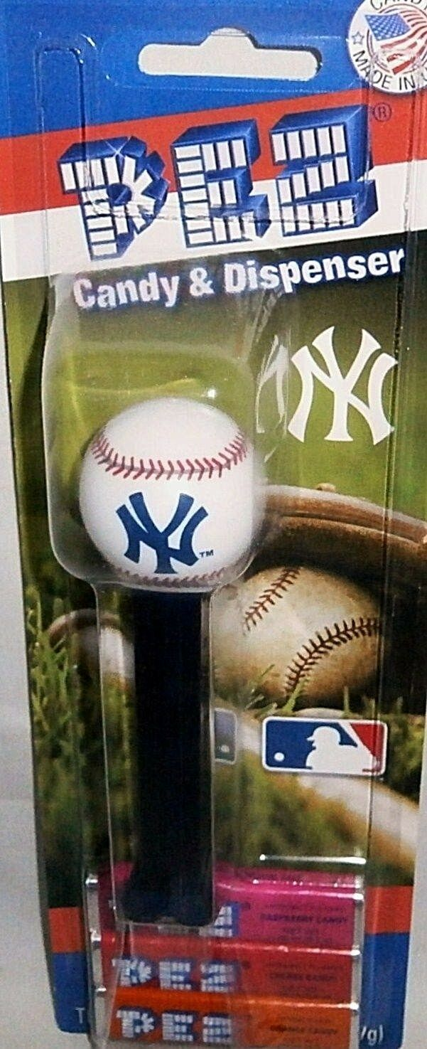 Mlb new york yankees pez dispenser year introduced 2008 interlocking ny [carded]