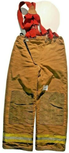 34x30 Globe Brown Firefighter Bunker Turnout Pants with Suspenders P1184