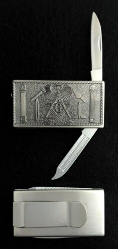 Masonic Money Clip with Knife & File (MAS-MC2)
