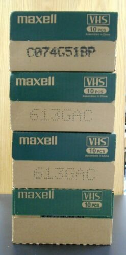 BOX LOT of 40 Maxell P/I Plus T-60 VHS video tapes for recording