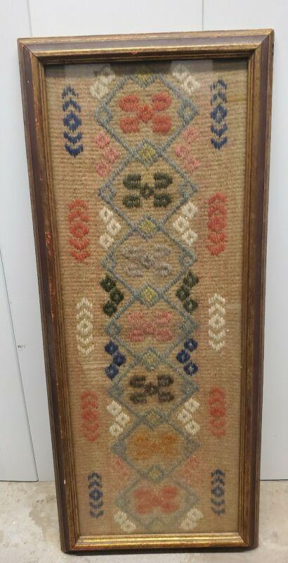 Framed antique Wooven Textile wool American indian design
