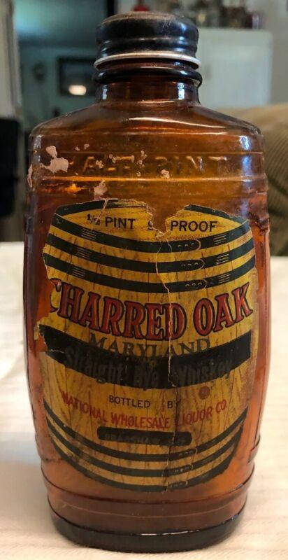 Antique Charred Oak Straight Rye Whiskey Bottle Maryland
