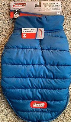 M Dog Coleman Reversible PUFFER Jacket Coat NEW Winter Pet In Blue Reversible Puffer Pet Jacket