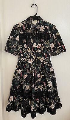 Kate Spade Women's Dress Black Size 4 Shirt Lace Trim Floral Print $398- #479