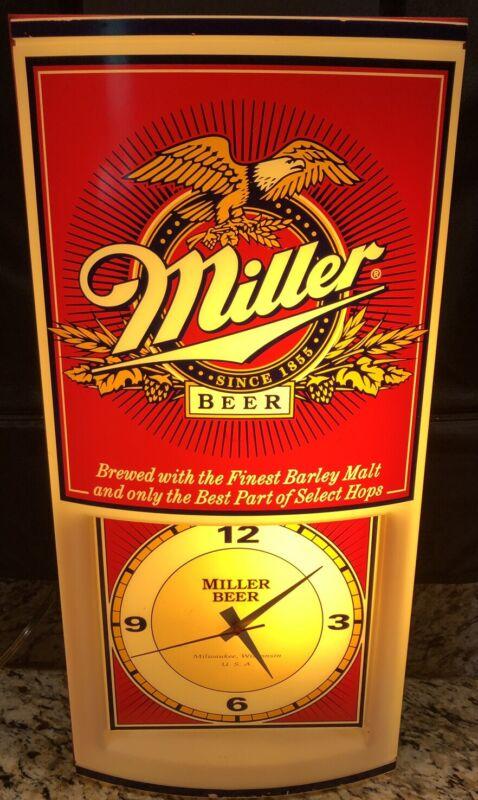 Vintage- Miller Beer lighted Clock Eagle on top of sign game room man cave Bar !