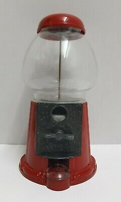 """Vintage Carousel 11"""" Gumball Candy Machine/Bank 1985 Red Metal Glass Globe"""
