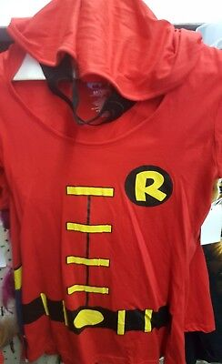 Junior Robin Hooded With Hood Attached Mask Shirt Costume Batman