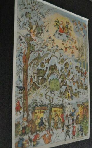 Vintage ADVENT CALENDAR SANTA ANGELS VILLAGE CRITTERS W. Germany KORSCH VERLAG