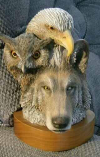 "PAUL R. CARRICO ""TRACES"" WOLF OWL EAGLE SCULPTURE VTG 1994 #834 0F 3000 ""SUPERB"""