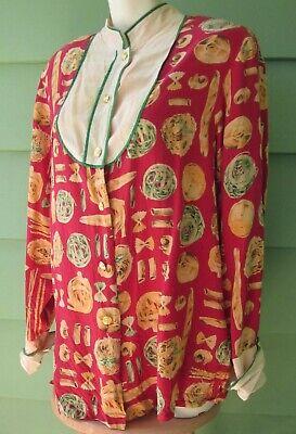 BOB MACKIE Wearable Art SILK SHIRT PASTA SPAGHETTI ITALIAN BREAD FOOD Large Top - Large Art Silk