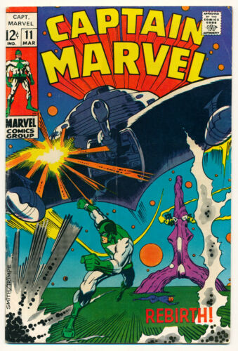 Marvel Captain Marvel Issue #11 Comic Book 5.0 VG/FN 1969 Rebirth! Smith Cover