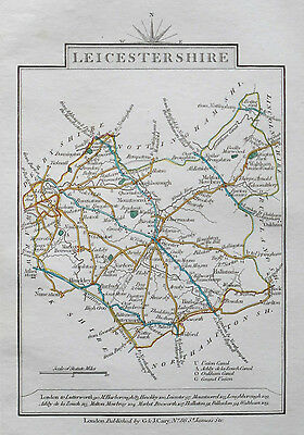LEICESTERSHIRE 1828 Miniature Antique Map by Cary Hand Coloured