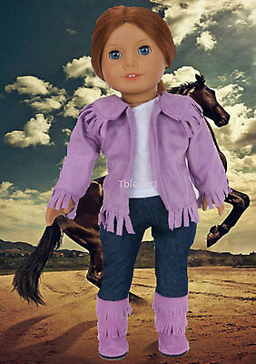 """Lavender Western Cowboy Set with Boots made for 18"""" American Girl Doll Clothes"""