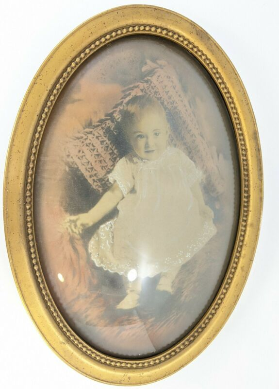 Antique Convex Glass Beaded Frame Painted Photo Baby Girl Instant Family
