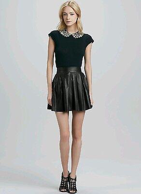 eaeff0344 Alice + Olivia Fizer Box Leather Skirt Pleated Size 4 NWT