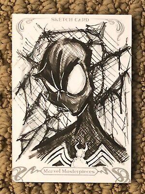 Marvel Masterpieces 2018 SKETCH CARD - Black Suit Spider-Man (Venom)!