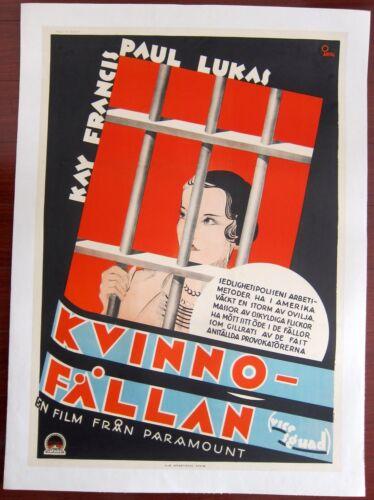 VICE SQUAD - ORIGINAL 1931 SWEDISH LB POSTER - O. ABERG ART CRIME THRILLER