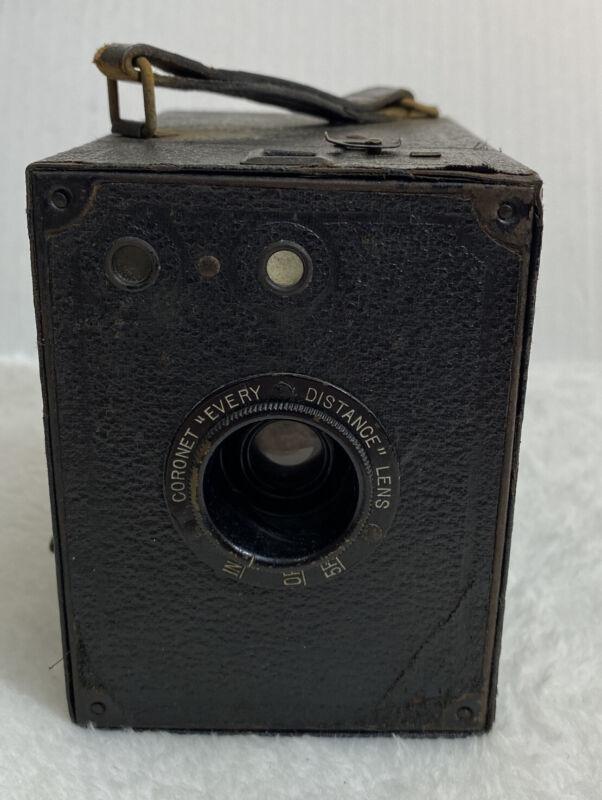 "Coronet ""Every Distance"" Lens Box Camera Film 120 Circa 1935 Made in England"
