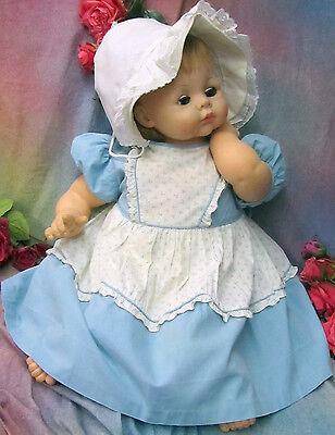 Antik Vintage Puppenkleid Country Girl Blau Baumwolle Aufdruck Schürze Für