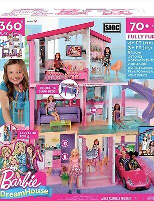 Girls Barbie Dreamhouse Dollhouse With Pool Slide Elevator Toys Gamestoys Games