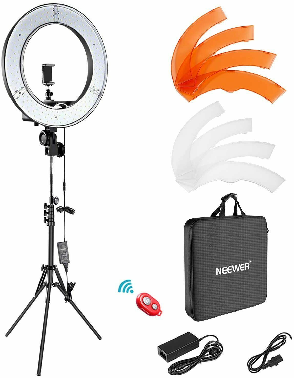 "Neewer Ring Light Kit:18""/48cm Outer 55W 5500K Dimmable LED"