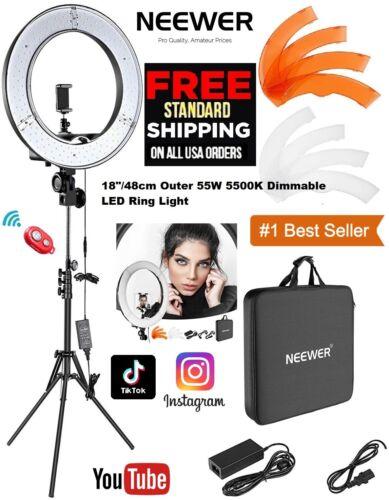 """Neewer Ring Light kit 18""""/48c LED 55W 5500K Dimmable for Studio YouTube,TikTok"""