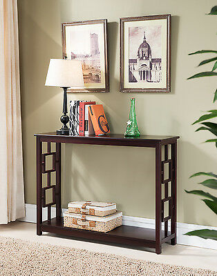 Kings Brand Furniture Cherry Finish Wood Entryway Console Sofa Occasional Table