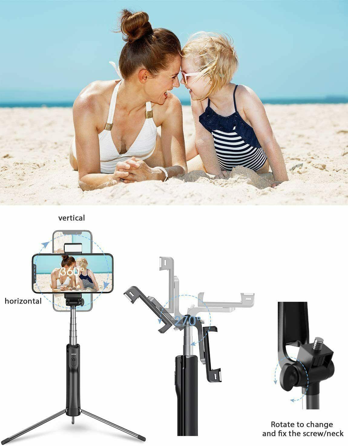 Mpow Selfie Stick Tripod, All in 1 Portable Extendable Selfi