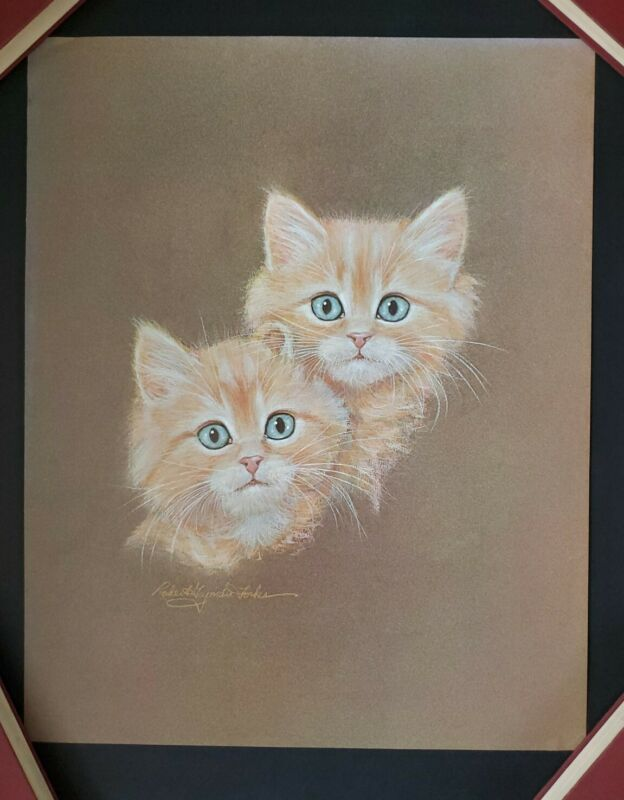 Vintage Robert Guzman Forbes Kitten Cat Print 1970 Orange Kitty Blue Eyes