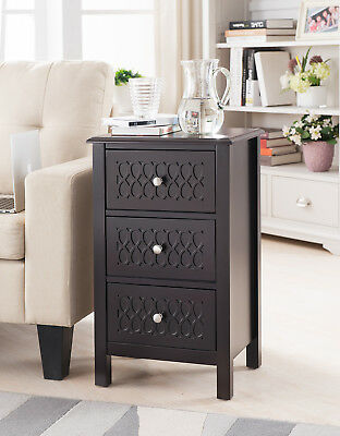 Kings Brand Furniture Espresso Finish Wood Accent Side End Table with Drawers