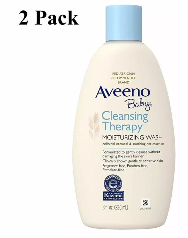 2 Pack Aveeno Baby Cleansing Therapy Moisturizing Wash 8 oz Each