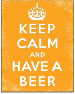 Keep Calm And Have A Beer Metal Tin Sign Humor Funny Home Bar Garage Wall Decor ()