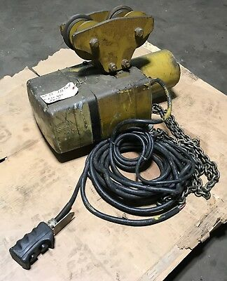 Yale Eaton 12 Ton Electric Chain Hoist With Pendent Trolley 230-460v 3 Ph
