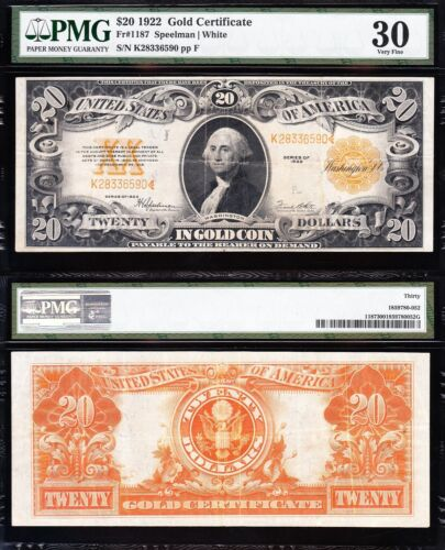 AWESOME Crisp Choice VF++ 1922 $20 *GOLD CERTIFICATE*! PMG 30! FREE SHIP! 36590