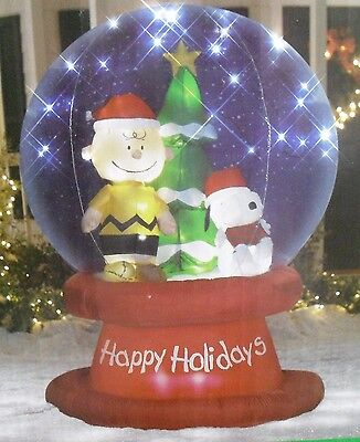 Gemmy Airblown Inflatable Christmas 6ft Peanuts Snoopy Snowglobe Led Lighted New