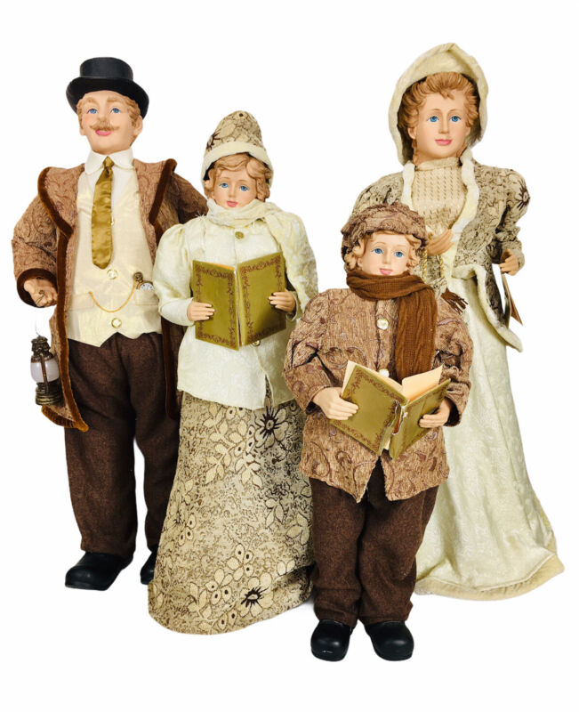"""Vintage Victorian Christmas Carolers Family Mom Dad & Children Large 29""""-41"""""""