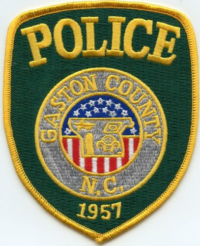 GASTON COUNTY NORTH CAROLINA NC yellow letters POLICE PATCH