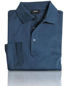 Boss-Camiseta-Polo-parmo-Azul-Marino-Regular-Ajuste-Manga-Larga-Algodon-M-L