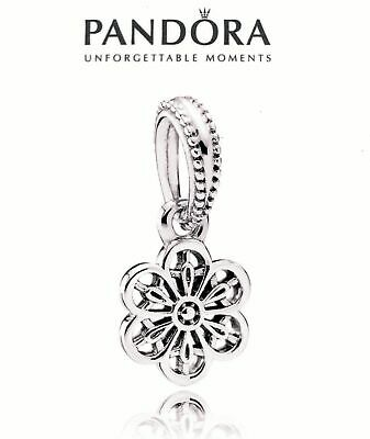 AUTHENTIC Pandora Silver 925 ALE  DAISY LACE Pendant Dangle Charm 791835