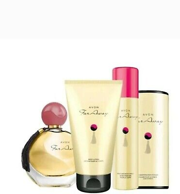 Avon Far Away Christmas gift set, EDP, LOTION, SPRAY AND POWDER. Brand New