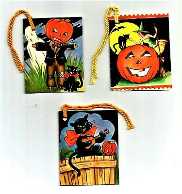 3 Assorted VINTAGE 1940's HALLOWEEN Party Tally Card GHOST, WITCH, BLACK CAT