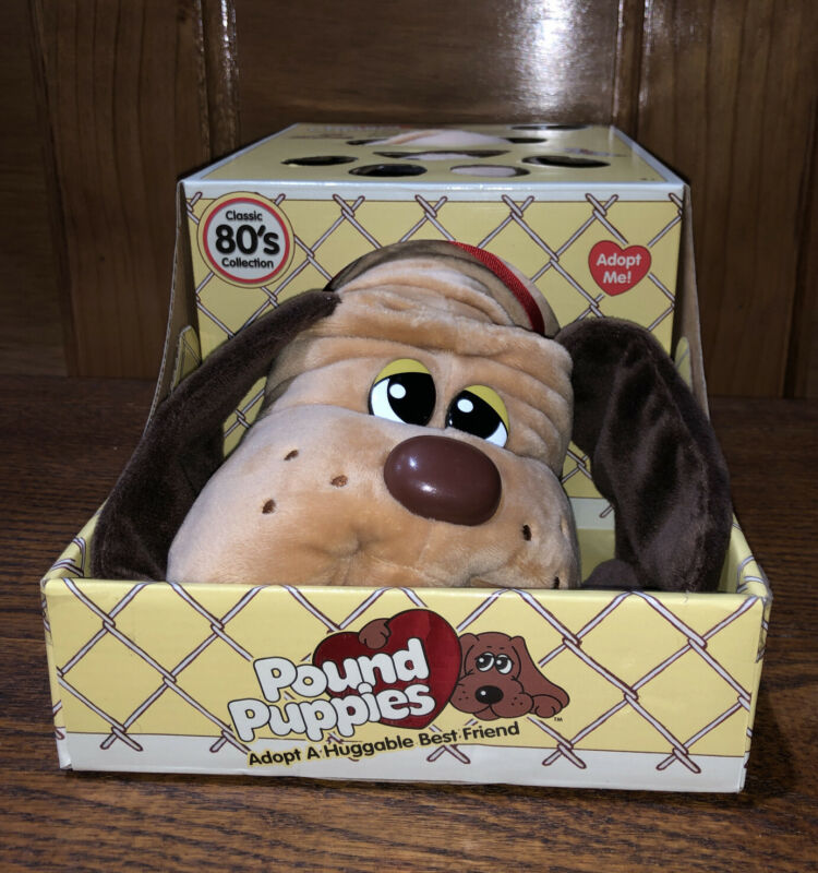 Pound Puppies Classic Stuffed Animal Plush Toy, Light Brown with Dark Brown Spot