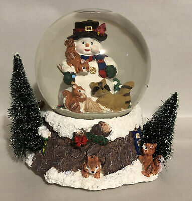 """Snowman Musical Snow Globe W/ Forest Animals & Trees Plays """"Frosty The Snowman"""""""