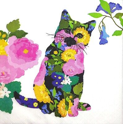3x Single SMALL Paper Napkins For Decoupage Craft Tissue Flower Pussy Cat S019