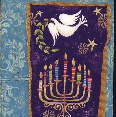 COLORFUL MENORAH,PEACE DOVE BIRD,JEWISH HANUKKAH,UNICEF CHRISTMAS GREETING CARD