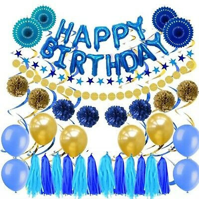 Happy Birthday Blue Gold Party Theme Pack