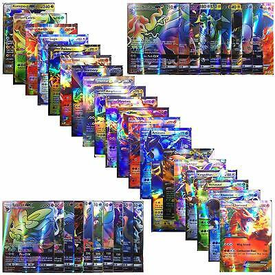100 Pcs pokemon TCG Style Card Holo EX Full Art: 20GX + 20 Mega + 1 Energy + 59